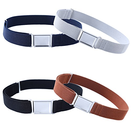 4PCS Kids Boys Adjustable Magnetic Belt - Big Elastic Stretch Belt with Easy Magnetic Buckle (Navy Blue/Grey/ Black/Brown)