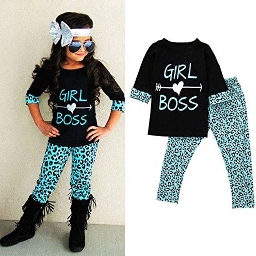 Price comparison product image LUNIWEI Girls 2PCS / Set Outfits T-shirt + Leopard Trousers