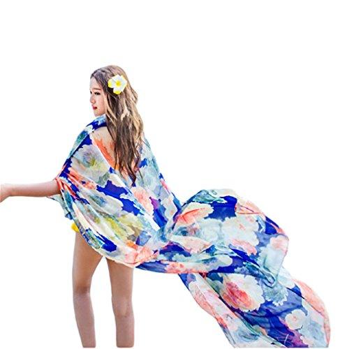 UK_Stone Damen Übergroesse Modisch Sarong Pareo Strandtuch Wickeltuch Bikini Sonnenschutz Decke Cover-up Blumen Blau eUcYKktJt