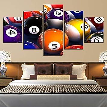 zlxzlx Vinilo Decorativo HD Impreso Moderno Lienzo De Pintura De Pared 5 Panel Billar Arte Cartel Modular Marco Cuadros Decoración del Hogar Sala De Estar-40x60cm 40x80cm 40x100cm: Amazon.es: Hogar