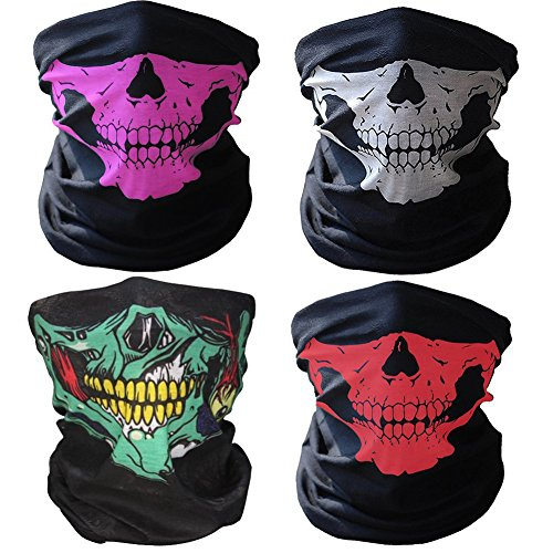 GAMPRO 4 Pcs Breathable Seamless Tube Skull Face Mask, Dust-proof Windproof Motorcycle (Motorcycle Skull Mask)