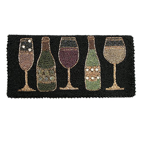MARY FRANCES Salute Beaded Wine Bottles and Glasses Cross-Body Clutch by Mary Frances