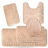 Elvoki 5 Piece Bathroom Rugs Set - Soft Non Slip Memory Foam Large Runner Bathroom Mats - Perfect Combination of Luxury and Comfort - Beige Sea Design
