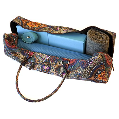 Yoga Mat Duffel Bag Patterned Canvas With Pocket And