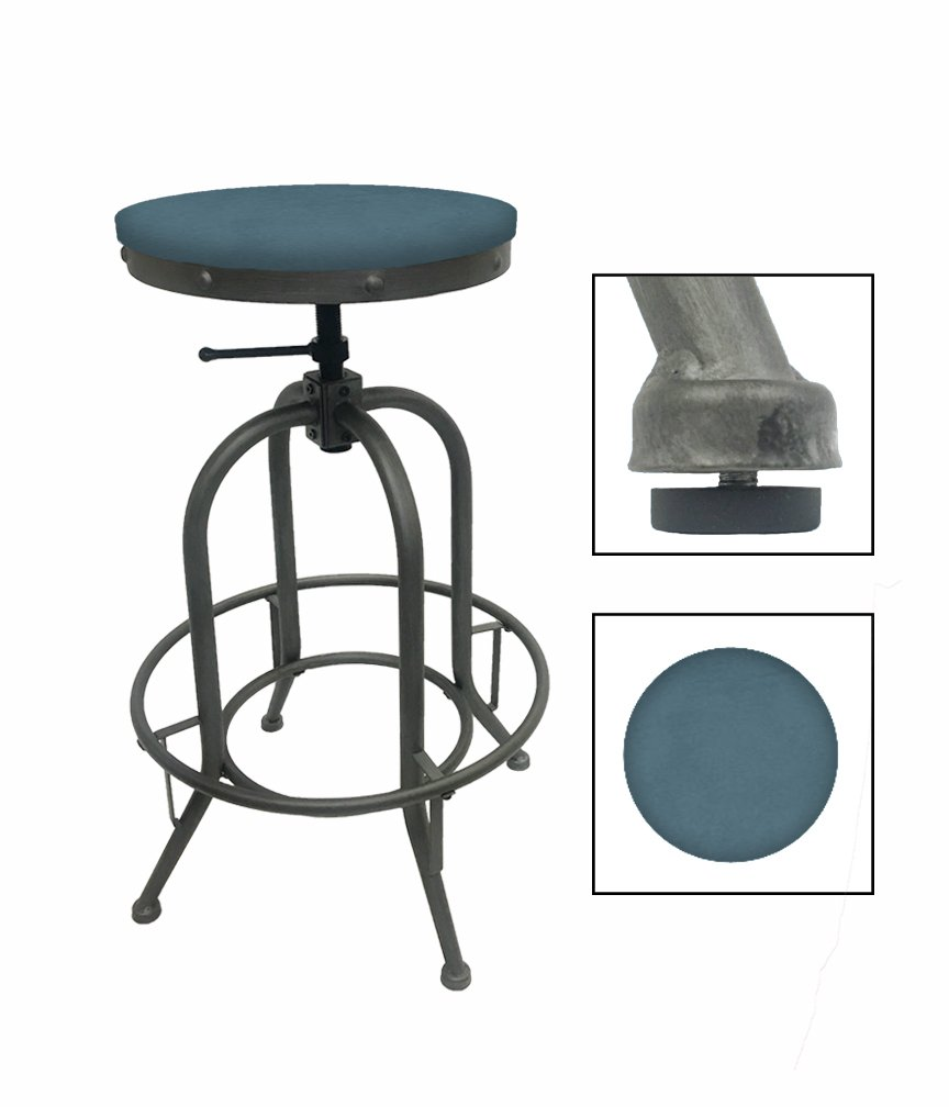 """1 - Adjustable 26""""- 30"""" Tall Rustic Metal Swivel Seat Bar Stool Featuring Your Choice of a Colored Vinyl Seat Cushion (Teal)"""