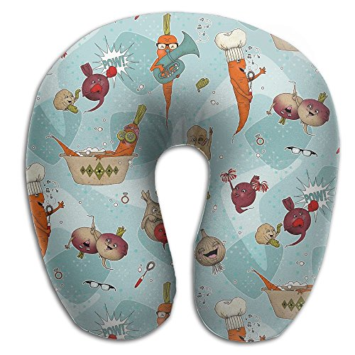 U-Shaped Pillow Neck Shoulder Body Care Happy Funny Vegetables Health Soft U-Pillow For Home Travel Flight Unisex Supportive Sleeping