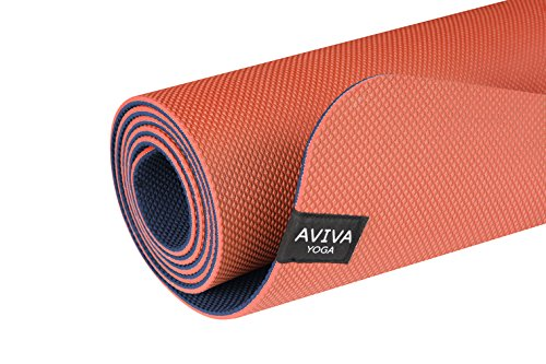 AVIVA YOGA Reversible TPE Foam Mat with Embossed Center Markings 5mm thick Non Slip Yoga Mat 72 x 24-Inch Orange and Blue