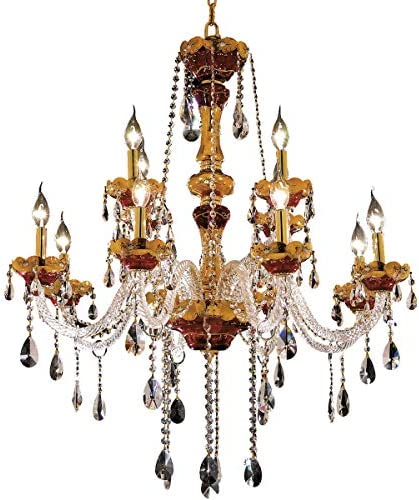Elegant Lighting 7810G33G RC Royal Cut Clear Crystal Alexandria 12-Light, Two-Tier Crystal Chandelier, 33 x 38 , Finished in Gold with Clear Crystals