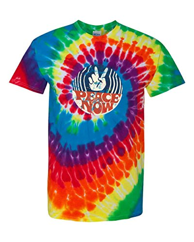 Peace Now Victory Sign Cool Fashion Multi-Color Spiral Tie-Dyed Unisex T-Shirts Michelangelo 2X-Large (Tie Dyed)
