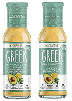 Primal Kitchen - Greek Vinaigrette, Made with Avocado Oil and Organic Oil of Oregano, Organic Ingredients - Vegan & Paleo Approved (8 Ounce, 2 pack)