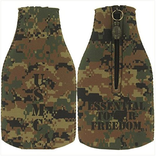 Vanguard Marine Corps Woodland Desert Koozie: Bottle Cover with Grenade Zipper
