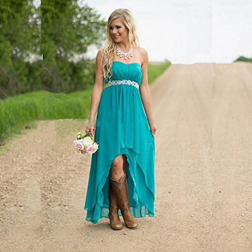 Turquoise High Party Wedding Brautjungfernkleideres Kleid Low Women' Strapless Violett Fanciest 6qw8v8