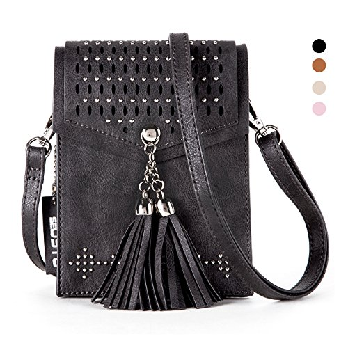 Women Small Crossbody Bag, seOSTO Tassel Cell Phone Purse Wallet Bags (Black)