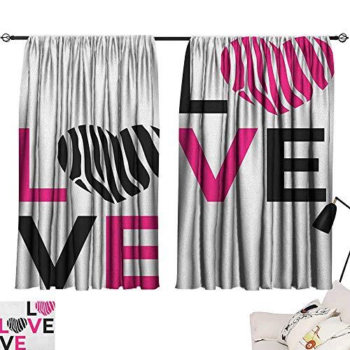 Michaeal Pink Zebra Light Darkening Curtains I Love You Calligraphy Zebra Stripes Hearts Valentines Illustration Curtain Darkening Blackout Pink Black and White W72 x L45