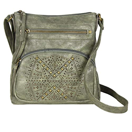 (Olive Green Crossbody Purse, Crossover Carryall Bag – PU Leather & Zip Pocket)