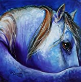 Imagekind Wall Art Print entitled BLUE MOONSTRUCK ARABIAN by Marcia Baldwin | 24 x 24