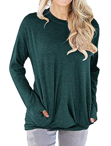 Dutebare Women Long Sleeve Sweatshirts Pocket Tunic Shirts Casual Loose Blouse Tops Green ()