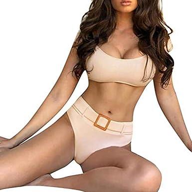 06870bc6903 Amazon.com: chengzhijianzhu-Swimsuit Women's Sexy Manual Push-Up Padded Bra  Beach Halter Bikini Set Swimsuit Swimwear for Women 2019: Clothing