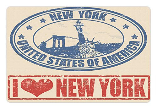 New York Dog Design - Ambesonne Retro Poster Pet Mat for Food and Water, Vintage I Love New York with Statue of Liberty Grunge Rubber Stamps Design, Rectangle Non-Slip Rubber Mat for Dogs and Cats, Blue Orange