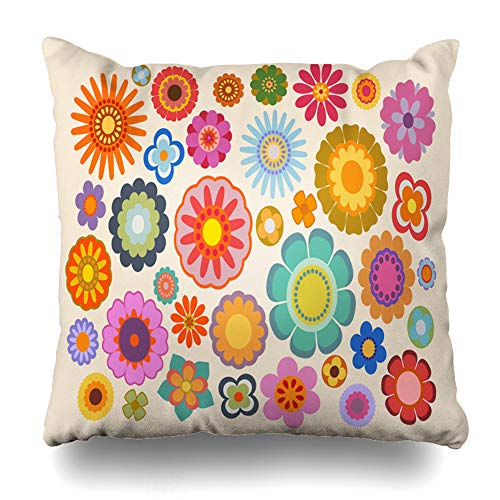 - GisRuRu Throw Pillow Cover Abstract Yellow Hippy Vintage Flowers Part Nature Hippie Green 70S 60S Power Pattern Psychedelic Home Decor Pillowcase Square Size 20 x 20 Inches Zippered Cushion Case