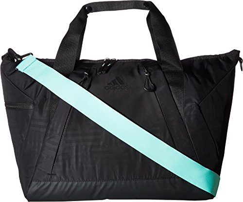 adidas Studio II Duffel Tote, Black Dot Punch Emboss/Black/Easy Green, One Size