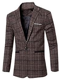Oberora Mens Casual Plaid Blazer One Button Classic Jacket Coat Outerwear