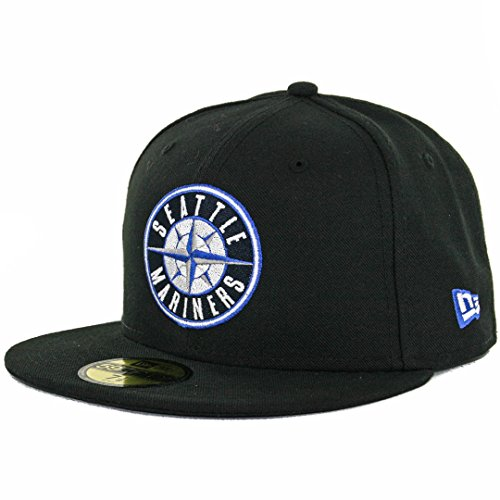tle Mariners Fitted Hat (Black/Compass Blue) Mens Custom Cap ()