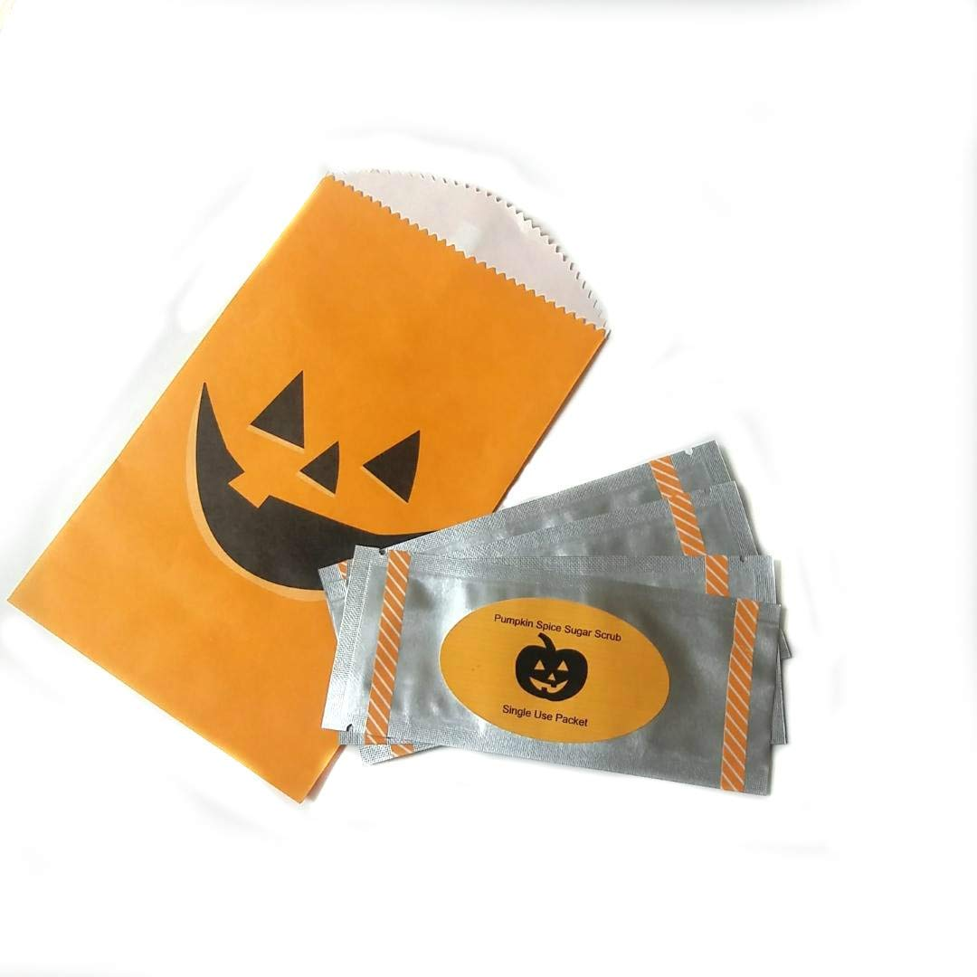 Halloween treats, Pumpkin spice sugar scrub, Halloween party favors, trick or treats, beauty treats