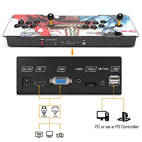 HAAMIIQII Pandora's Key 7 3D Home Arcade Game Console   No Games Pre-Loaded   Full HD (1920x1080) Video   2 Player Game Controls   Add More Games   Support 4 Players   HDMI/VGA/USB/AUX Audio Output by HAAMIIQII (Image #3)