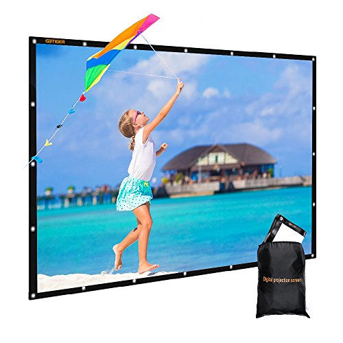 100 inch PVC Fabric Indoor Outdoor Movie Screen with Bag, GBTIGER Collapsible Wall/Ceiling Mount Projection Screen, 100 inch Portable 16:9 Indoor Outdoor Home Theater Presentation Projector Screen (Bag Computer Pvc 100%)