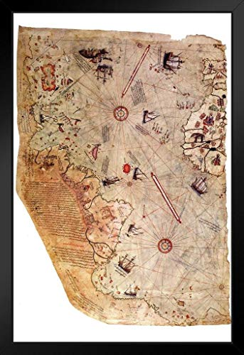Piri Reis 1513 Historical World Map Framed Poster