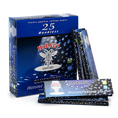 Hornet 25 Booklets 800 Leaves 110mm King Size Flavored Tobacco Rolling Papers (Blueberry) (Flavored Pipe Tobacco)
