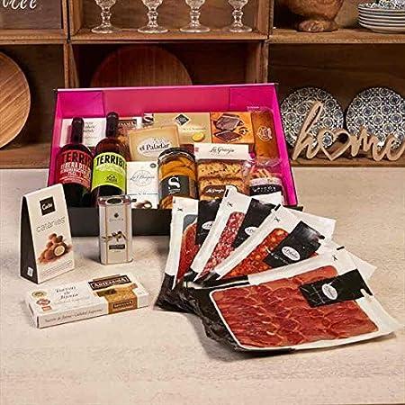 LOTE GOURMET 120-9, Vino tinto y blanco, jamón ibérico, chorizo, salchichón, queso de oveja, galletas, turrones...