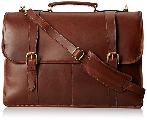 Leather Triple Gusset Flap - Jack Georges University Triple Gusset Flap-Over Leather Briefcase in Brown