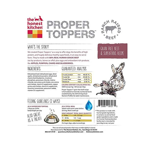 The Honest Kitchen Proper Toppers: Natural Human Grade Dehydrated Dog Superfood Toppers 14 oz - Cage Free Chicken 2