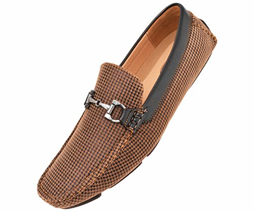 abd87f6cc8b good Amali Mens Black and Tan Houndstooth Printed Driving Moccasin Loafer  Shoes  Style 1404-