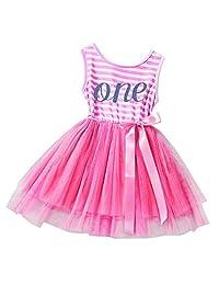 IBTOM CASTLE Baby Girls Princess 1st/2nd Birthday Cake Smash Tulle Dress Outfit