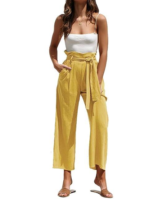 Suelta Pantalones De Pierna Ancha Corbata De Cintura Mujeres ...