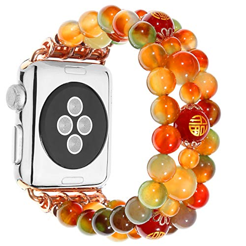 - Amedve Multicolor Handmade Beaded Faux Agate Natural Stone Elastic Bracelet Replacement iWatch Band Strap for Apple Watch Series 4, Series 3, Series 2, Series 1, Sport, Edition (38mm/40mm)