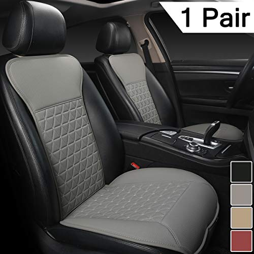 Black Panther 1 Pair Luxury PU Car Seat Covers Protectors for Front Seats, Triangle Pattern, Compatible with 95% Cars (Sedan/SUV/Truck/Van/MPV) - Gray
