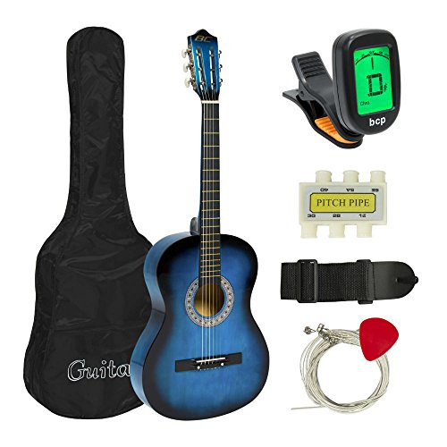 New Beginners Acoustic Guitar With Guitar Case, Strap, Tuner and Pick (blue) from Unknown