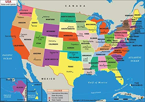 Map Of The Us. Amazon.: US States and Capitals Map (36