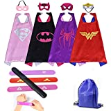 Masbros Kids Dress Up Costumes Cartoon 4 Satin Capes Set with Slap Bracelets Birthday Party Supplies