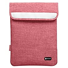 """DTWORLD 13-13.3 Inch Waterproof Laptop Sleeve Bag with Velcro,Vertical Notebook Carrying Case Cover Computer Pouch Handbag for 13.3 Inch Macbook Air/Pro/Retina Display/Surface/12.9"""" iPad Pro-Red"""