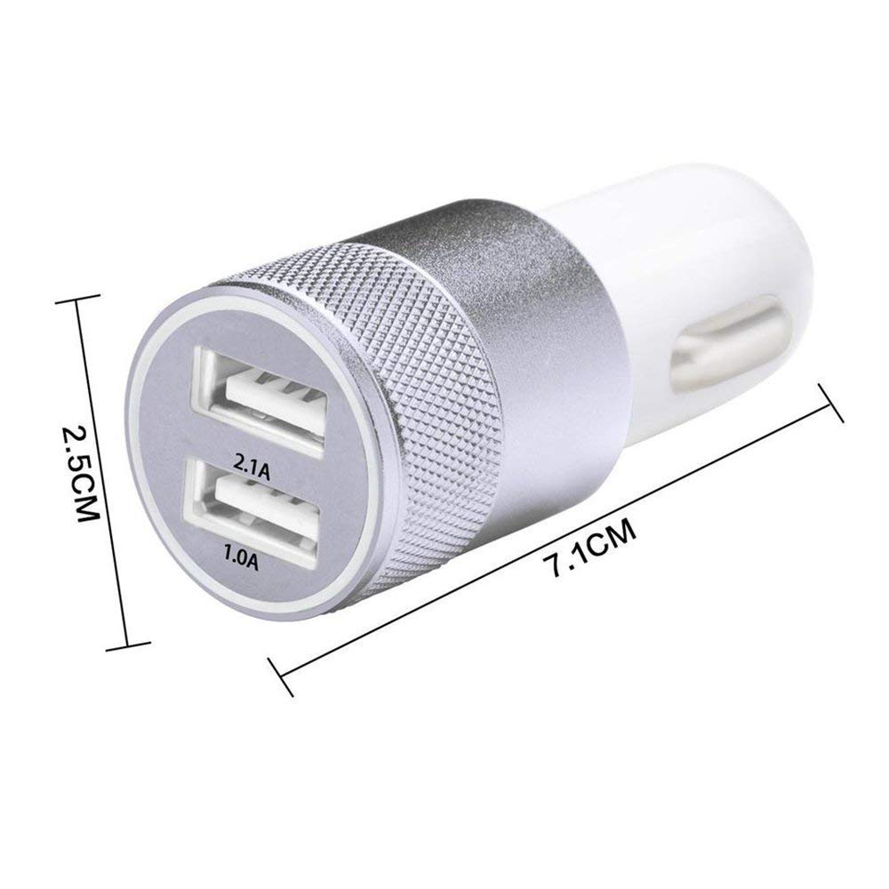 Fast Car Charger 2 USB Ports 2.1A + 1a Cable USB Type C for Asus Zenfone 4 Ze554kl Lapinette CAC-2P-TYPE-C-N-ZEN-4