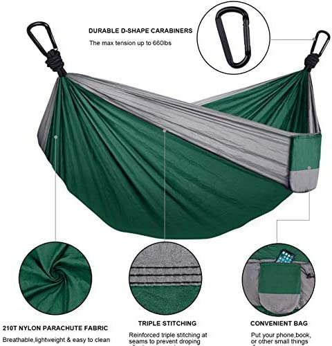 WOVUU Camping Hammock Double Outdoor Travel Portable Hammock,Durable Lightweight Parachute Nylon Hammocks with Tree Straps,Carabiners for Garden Camping Backpacking Hiking Adventures Dark Green Grey