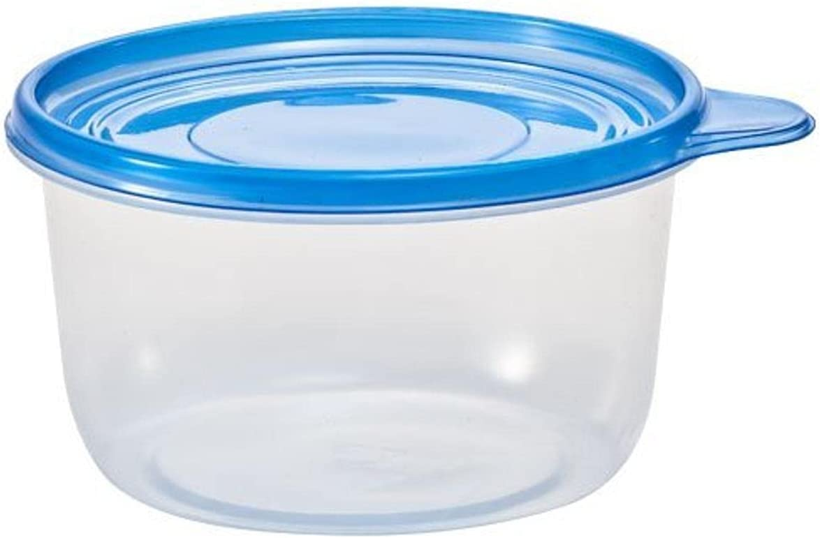 Nicole Home Collection Clear Round Blue Lid | 25 oz | Pack of 4 Storage Container