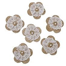 Hessian Burlap Lace Flowers Bridal Wedding Craft Making Decoration Pack of 6