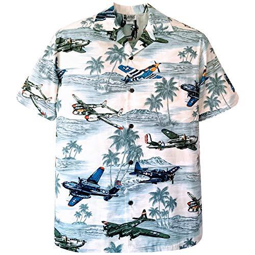 Medium Grey Vintage WWII Fighter Planes Diamond Head Hawaiian Shirt ()