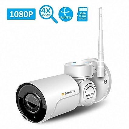 Cámara De Seguridad Inalámbrica WiFi IP Cámara De Seguridad HD 1080P PTZ Inclinación Panorámica Cámara Impermeable